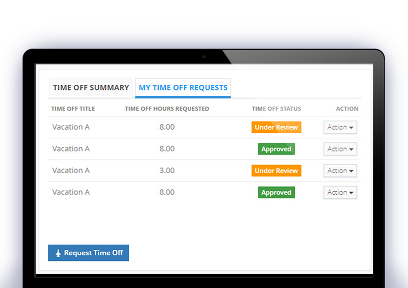 OnCore Timetrack timeoff requests
